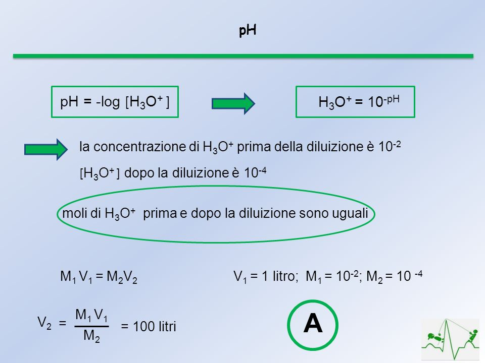 A pH = -log [H3O+ ] H3O+ = 10-pH pH